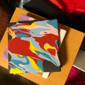 Abstract art hand painted tile